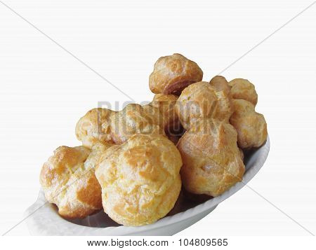 Delicious Beignets Composed Of A Shell Of Choux Pastry Isolated On White Background
