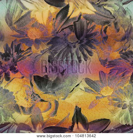 art vintage floral seamless pattern with purple, pink, grey, orange gold roses, peonies ,lilies asters, gerbera and leaves on background; halftone effect