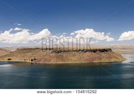 Peru Landscape, Beautyfull Umayo Lake Near Puno