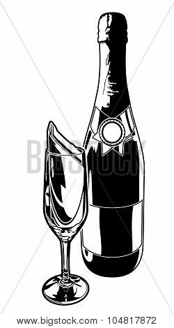 Champagne Bottle and Flute