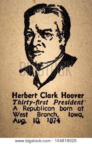 October 6th 2015 - Montreal Canada. Old 1945 Webster's Dictionary Macro Close-up of Herbert Hoover the 31st President of the United State of America Drawing and little historical text. poster