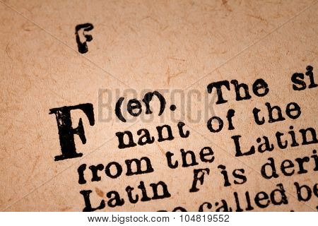 Close-up Of A F, The 6Th Letter Of The Latin Alphabet