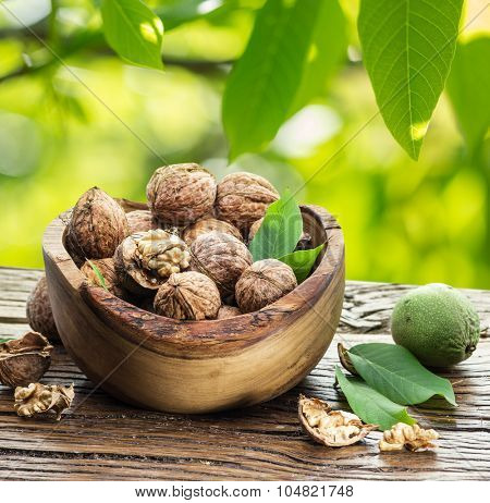 Walnuts in the wooden bowl on the table under the walnut tree. poster
