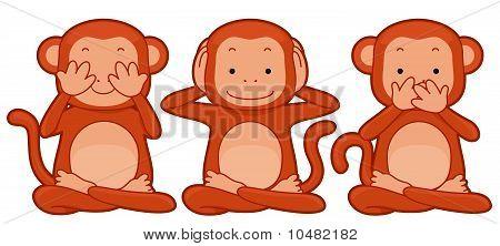 Illustration ofa Group of Monkeys Representing the See No Evil Hear No Evil Speak No Evil Proverb poster