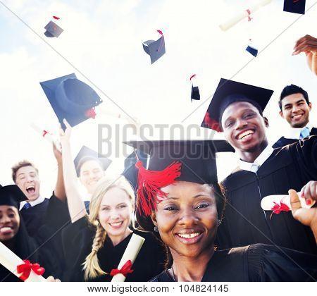 Diverse International Students Celebrating Graduation Concept