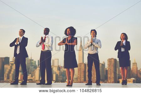 Office Workers Outdoor Yoga Relaxation Concept