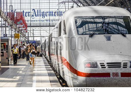 People Arriving Or Departing At The Frankfurt  Train Station