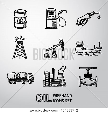 Set of handdrawn oil icons - barrel, gas station, rigs, tanker, truck, plant, valve. Vector