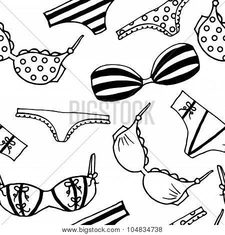 Lingerie seamless pattern. Vector underwear background design. Outline hand drawn illustration.