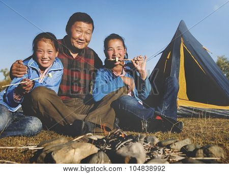 Camping Fun Mongolian Family Happiness Concept