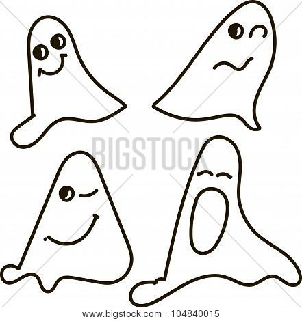 Ghosts, black-and-white, drawing, emotions