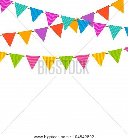 Set Colorful Buntings Flags Garlands
