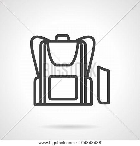 School bag simple line vector icon