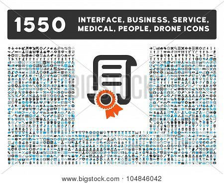 Certified Scroll Document and other web interface, business tools, people poses, medical service vector icons. Style is flat symbols, bicolored, rounded angles, white background. poster