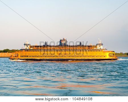 NEW YORK,USA - AUGUST 17,2015 : The Staten Island Ferry sailing on the New York Harbor