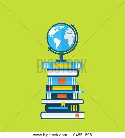 Flat icons of globe and heap handbooks