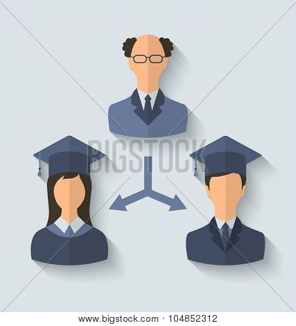 Flat icons of teacher and his students have graduated from the U