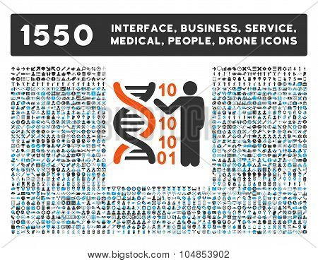 Dna Code Report Icon and More Interface, Business, Medical, People, Awards Vector Symbols