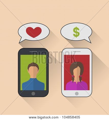 Illustrations fake relationship, woman with dollar sign instead of the heart - vector poster