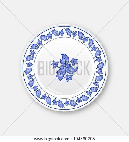 White plate with hand drawn floral ornament bezel