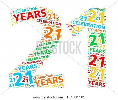 Colorful word cloud for celebrating a 21 year birthday or anniversary
