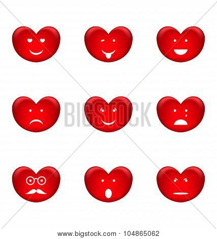 Set of smiles of heart shape with many emotions, isolated on whi