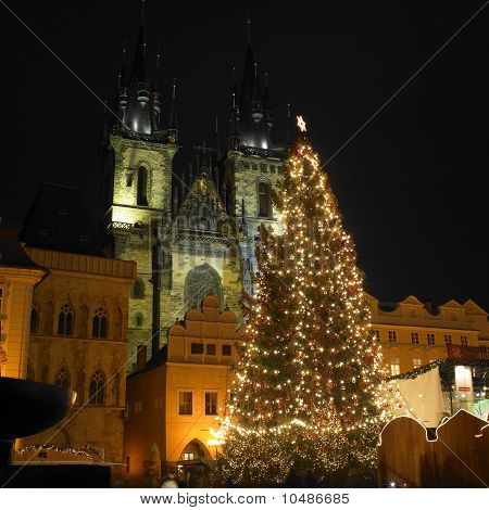 Old Town Square at Christmas time Prague Czech Republic poster