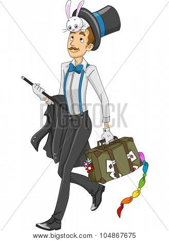 Illustration of a Magician Carrying a Luggage Full of Magic Props