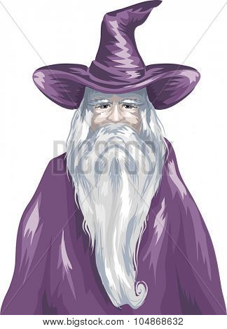 Sketchy Illustration of a Wizard Wearing a Purple Gown poster