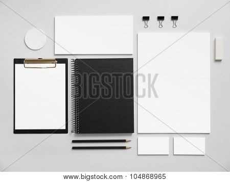 Set of office stationery for brand presentation.