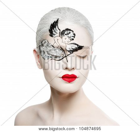 Beautiful Girl With A Picture On The Face Of Cupid. Red Heart-shaped Lips.