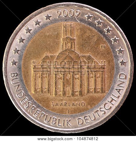 Commemorative Two Euro Coin Issued By Germany In 2009 To Celebrate The Federal State Of Saarland