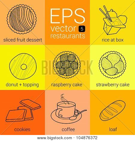 vector set food meal dish restaurant icons pack for design menu categories for catering companies. p