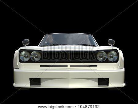 White sports coupe. White race car. Retro race. Japanese School tuning. Uniform black background. Th