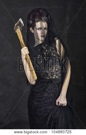 Mourning Widow with Axe - Standing