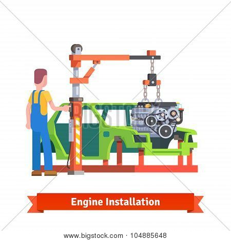 Car production line or repair shop