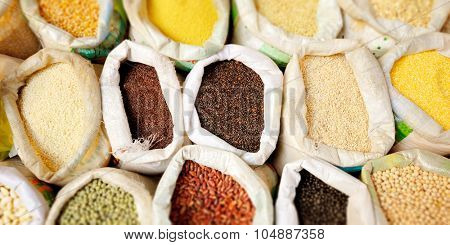 Sacks Of Healthy Legumes And Grains Concept
