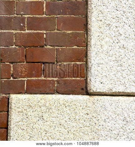 Santo Antonino   Italy    Abstract   Wall Of A Curch Broke Brike Pattern