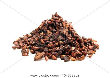 Pile of Organic Dried Pomegranate seeds (Punica granatum) isolated on white background. poster