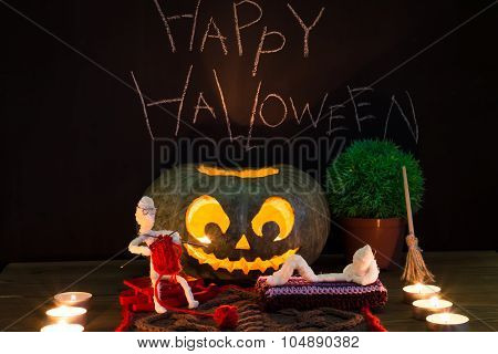 Toy mummies and jack-o'-lantern. Fantasy about Halloween. poster