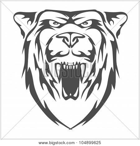 Grizzly bear head - vector emblem.