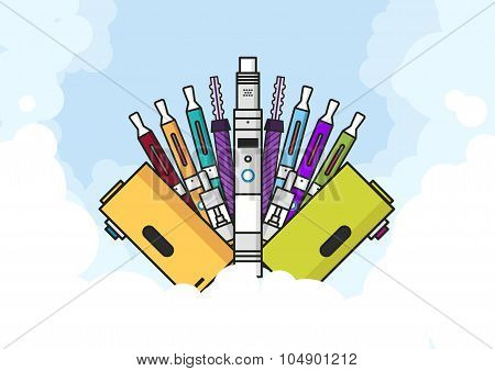 Vaping Illustration Of Vaporizer And Accessories