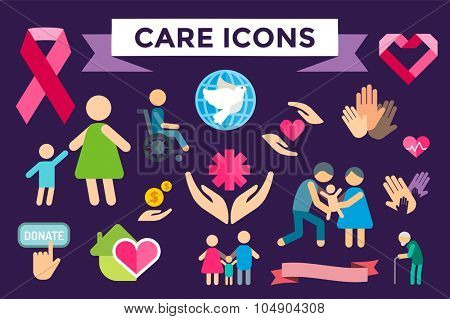 Charity care flat icons set. Care vector logo icons. Care silhouette isolated. Care, abstract hands logo, heart logo, old people care logo, child care logo, care logo, togetherness concept,family care
