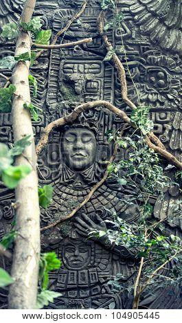 closeup of the rock fretwork in jungle