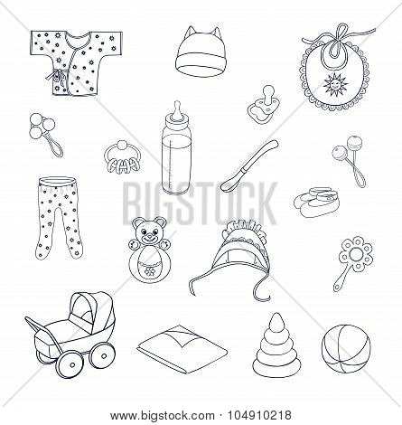 Things And Toys For Babies Icons Set
