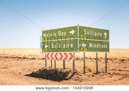 Multiple Road Sign In Namibia - Walvis Bay - Solitaire - Windhoek - Desert Streets Directions