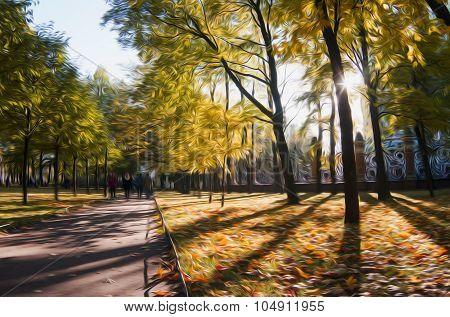 Illustration of autumn season in city park in oil painting style