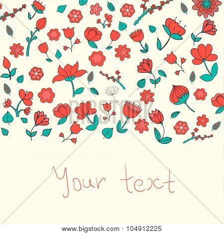 Flowers text placeholder doodle hand drawn vector illustration poster