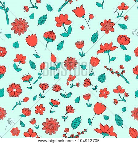 Seamless pattern red fowers vector illustration