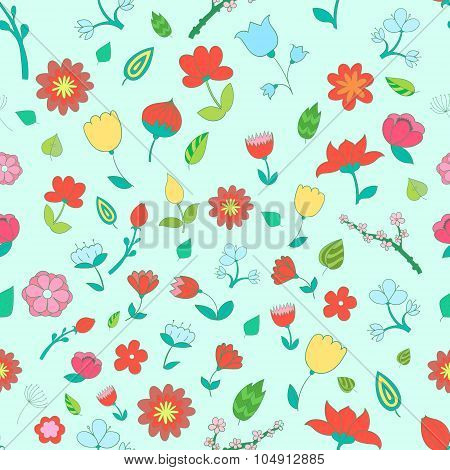 Seamless pattern color fowers vector illustration